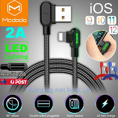 MCDODO 90 Degree Elbow Lightning Charging Data Cable For iPhone 7 8 Plus XS MAX