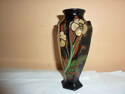 Royal Stanley Ware Pottery 16.5Cm High Black Vase With Yellow Flower &leaf Decor