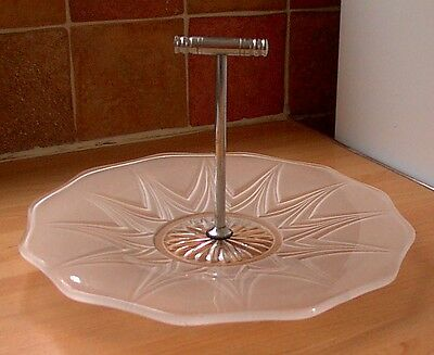 ART DECO FROSTED GLASS 1-tier CAKE STAND, retro, vintage, shabby chic