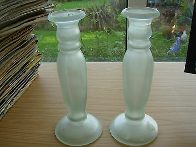 PAIR OF 9 in OPAQUE GLASS CANDLESTICKS CHRISTMAS SHABBY CHIC