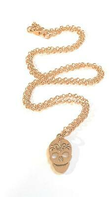 Rose Gold Plated Stainless Steel Sugar Skull Charm Necklace in Gift Box