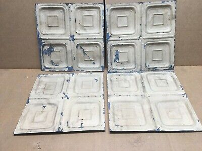 "4pc Lot of 12"" by 12"" Antique Ceiling Tin Vintage Reclaimed Salvage Art Craft"