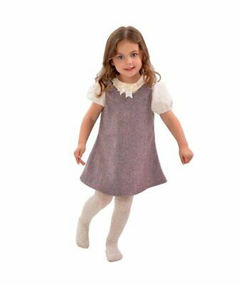 Girls Toddler Baby Tweed Pinafore and Peter Pan Blouse Outfit Set Dress