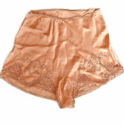 XXL VTG 1930's Sassy Silk & Rayon Peach Embroidered Panties w Floral Lace Sissy