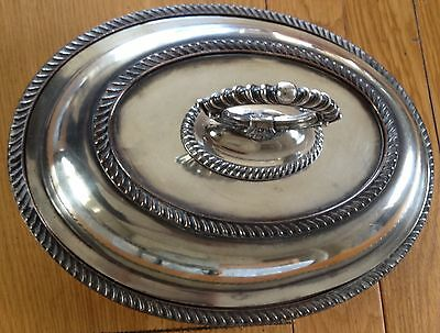 Georgian Silver Plate Heavy Serving Dish Twist Handle Ornate Antique Tableware