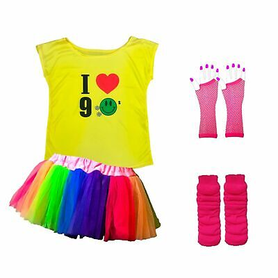 IT/'S THE 90s BABY Ladies Sports Vest 8-16 90/'s Party Fancy Dress Pink T-Shirt