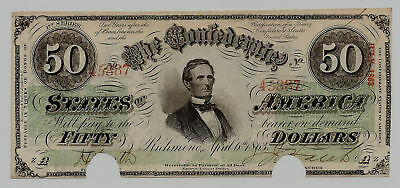 1863 Confederate CSA Uncirculated T-57 CR-413 50 Dollar Note