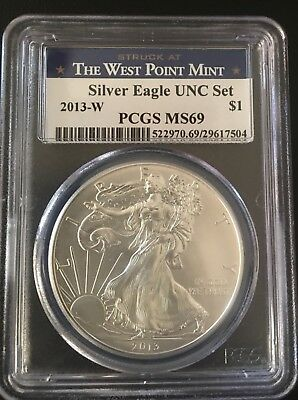 2013-W Burnished Silver Eagle from annual uncirculated dollar set PCGS MS69