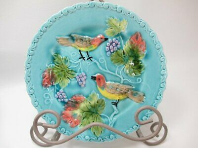 Black Forest Art Pottery Small Display Plate Blue Birds Grapes Majolica Germany