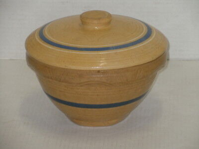 Vintage Antique Yellow Ware Bowl With Lid Primitive Blue White Band Marked 8