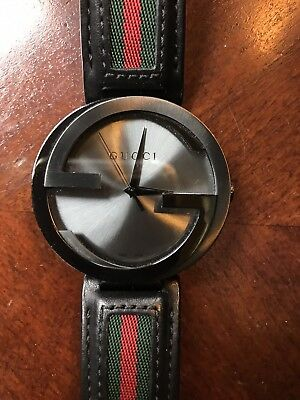 6a88c2b2e9b Gucci Interlocking Green Red Striped Black Leather 42MM Unisex Watch  YA133206
