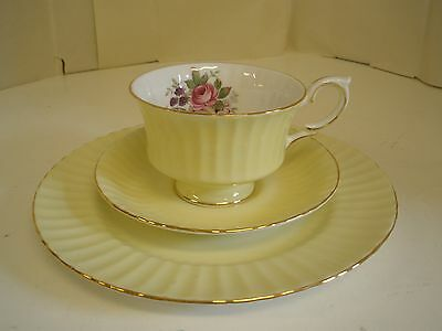 Royal Standard Cup Saucer Plate Trio Fine Bone England China Yellow Footed Rose