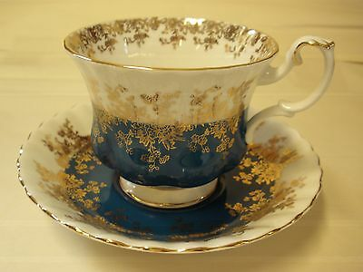 Royal Albert Regal Series Turquoise Gold White Cup Saucer Bone Footed England
