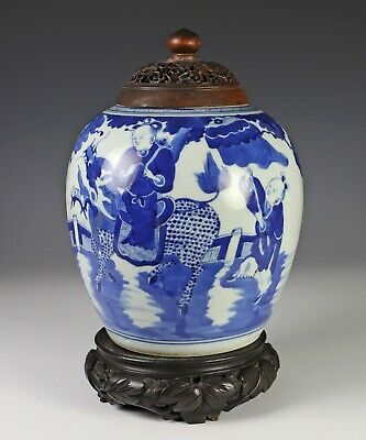 Antique Chinese Blue and White Porcelain Covered Jar with Wood Cover