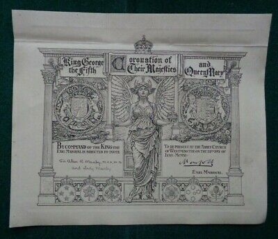 Antique Invitation Coronation King George V Queen Mary 1910 Dr Sir Alan Manby