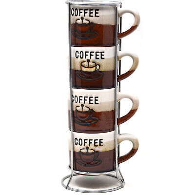 Set Of 4 Espresso Coffee Tea Mugs With Stand Latte Ceramic Cup Kitchen New Gift