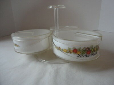 Vintage 1970's Corning Ware Spice of Life Condiment Server , Lucite Carousel