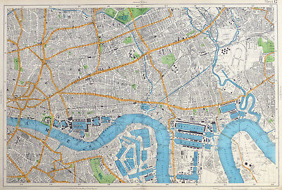 LONDON, 1912 - THE DOCKS, ISLE OF DOGS & THE EAST END , Original Antique Map.