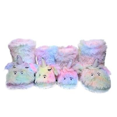 Girls/Kids Cute Unicorn Indoor Outdoor Slippers with Plush Fleece Warm Colorful