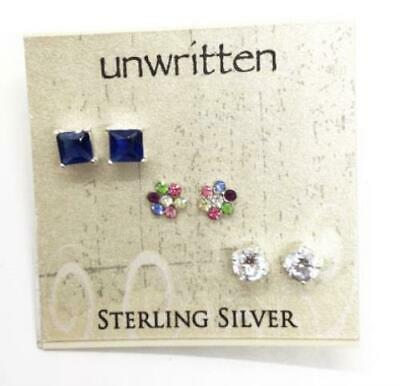Unwritten $65 Sterling Silver Stud Earring Set of 3 Square Round Flower NWT