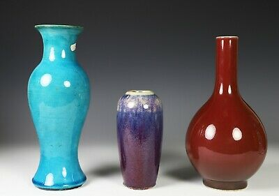 Lot of Three Chinese Glazed Porcelain Vases of Various Color