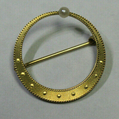 14Kt Gold Dainty Circle Pin With Pearl 030719Lrp02/Exx