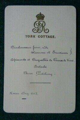 Antique Royal Lunch Menu Guest List King George V Queen Mary Christmas Day 1917