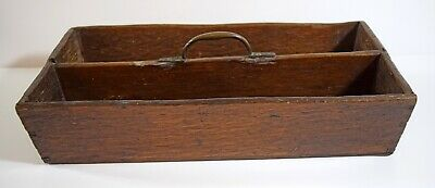Antique rustic oak 2 division Butler's cutlery tray with brass carrying handle