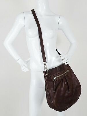 ROOTS CANADA OLIVIA White Leather Hobo Crossbody Brown Bucket ... 961e22a375c89