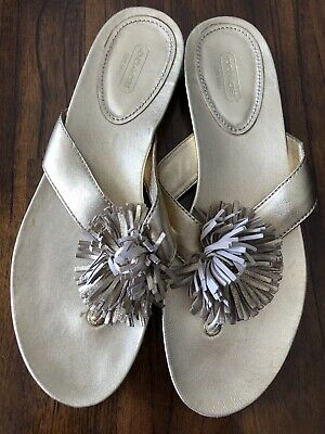 22674d7f43a4 COACH Suki Gold Suede Fringe Bling Thong Sandals Womens Size 10 B Never Worn