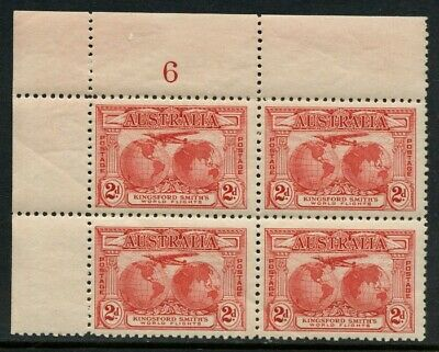 50% OFF! 1931 Kingsford Smith's Flights 2d Red *PLATE NUMBER BLOCK* MH SG 121 2D