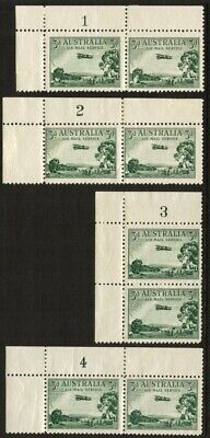 1929 Airmail 3d Green *PLATE NUMBER PAIRS* MH SG 115 1FE