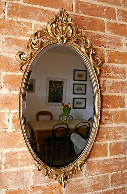 Antique French Ornate Gilt Wood & Gesso Wall Mirror Bevelled Rococo Oval VTG