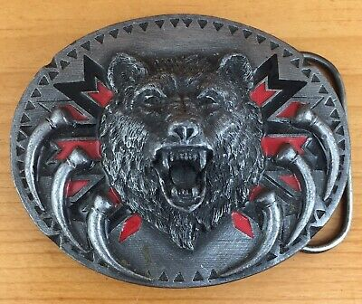 Vintage 1991 SISKIYOU BUCKLE CO. Belt Buckle Pewter BEAR & CLAWS
