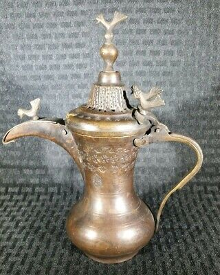 VINTAGE 1910 ARABIC ISLAMIC DALLAH COPPER COFFEE POT omani saudi bedouin tea
