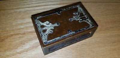 Arts & Crafts Copper & Silver Matchbox Holder Case Very Nice