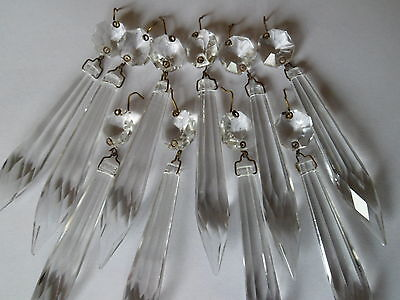 5x Vintage Facet Cut Glass Crystal Icicle Chandelier Drops Spares Parts Project
