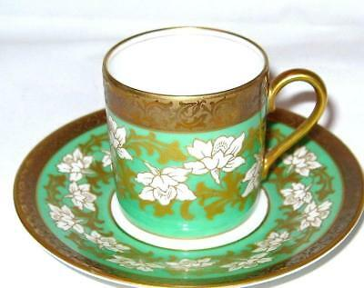 ROSENTHAL Selb Germany Gold Etched Green DEMITASSE Cup and Saucer Floral Elegant