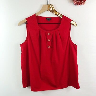 42139c76384eb TALBOTS Women s Blouse Tank Top Red Sleeveless Beetle Bug Buttons Size 14 P