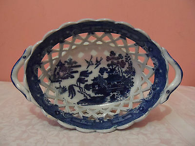 Antique Early 19th Century Blue Willow Pattern Pearlware Chestnut Basket
