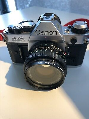 Canon AE-1 Program 35mm Film Manual Camera w/ 50mm F1.8 Lens Strap Exc TESTED