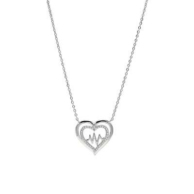 Women 14K White Gold Sterling Silver Diamond Hearth Pendant Chain Necklace