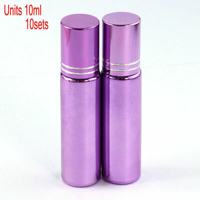 10 Pcs Small 10ML Empty Perfume Roll on Roller Metal Ball Glass Bottle& Purple