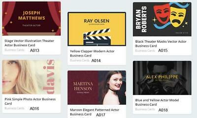 100 Actor Business Cards custom one sided printing with free design