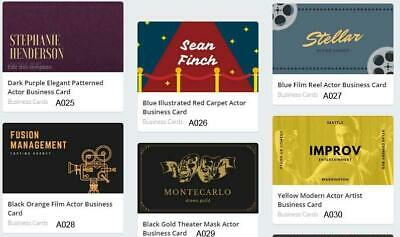 200 Actor Business Cards custom Two sided printing with free design