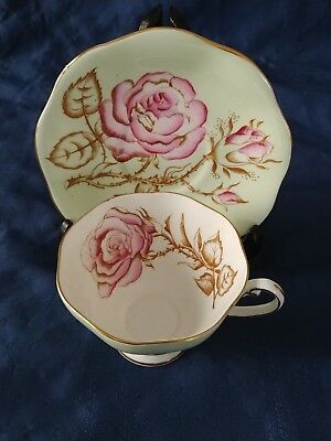 Art Deco Foley Teacup and Saucer-Pale Green-Large rose-Paragon, Aynsley interest