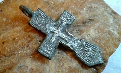 RARE ANTIQUE c.16-18th CENTURY SOLID SILVER ORTHODOX SWORD-SHAPED CROSS PENDANT