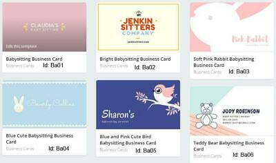 100 Babysitting Business Cards custom one sided printing with free design