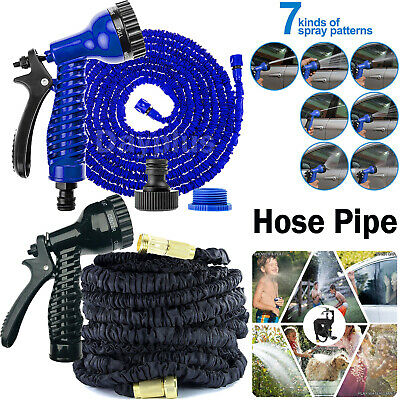 Expandable Flexible Garden Hose Pipe Expanding Fittings + 7 Setting Spray Gun