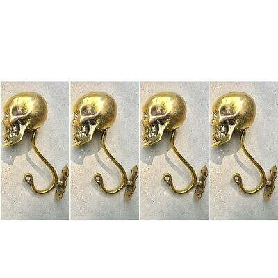 "4 Large SKULL HOOKS Polished hollow real Brass old style day the dead 6 ""long B"
